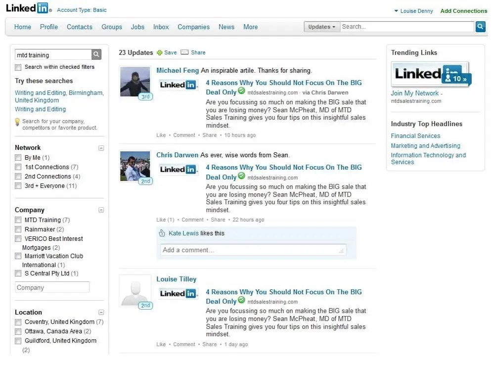 Linkedin screenshoot
