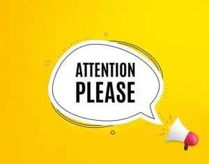 Attention Please. Megaphone Banner With Chat Bubble. Special Off