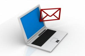 Laptop with red email icon