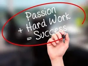 Man Hand Writing Passion Plus Hard work is success