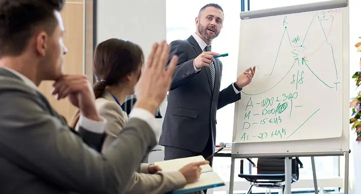 Sales trainer standing at a flipchart giving a presentation