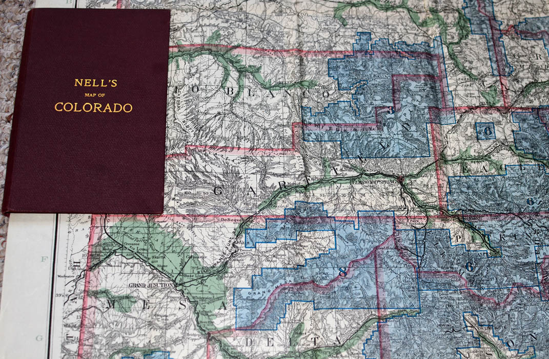 Nell s Map of Colorado  MT  GOTHIC TOMES AND RELIQUARY Copyright by Louis Nell  Denver  Colorado  1903  Designations of Forest  Reserves  Complete with original gold printed burgundy cloth covers and