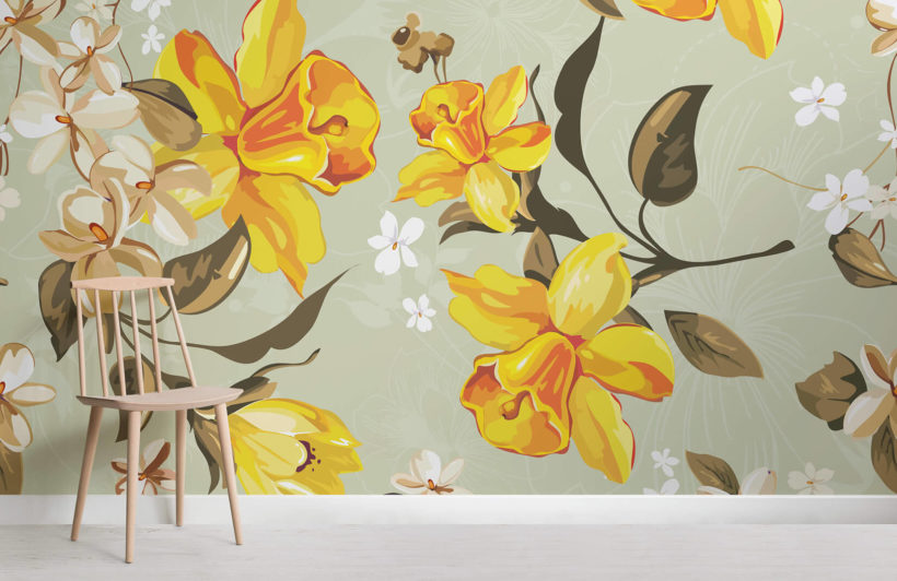 Vintage Illustrated Daffodils Wall Mural   MuralsWallpaper co uk vintage illustrated daffodils flowers room wall murals