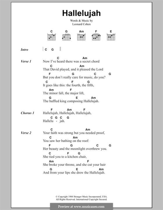 Hallelujah Piano Chords