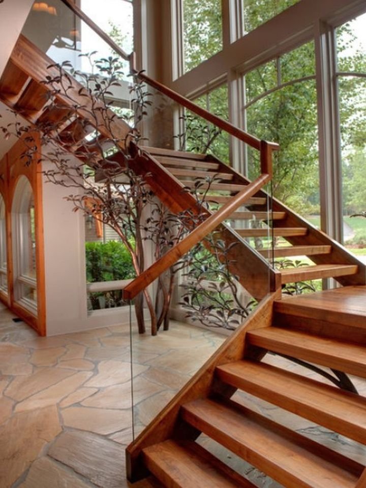 19 Contemporary Wooden Stairs Designs For Your House | Wooden Stairs Railing Design With Glass