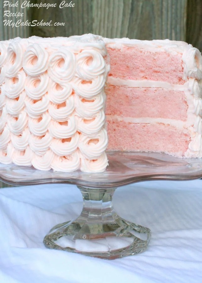 Delicious Pink Champagne Cake Recipe from Scratch   My Cake School Pink Champagne Cake Recipe by MyCakeSchool com