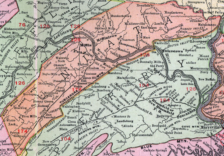 Juniata County  Pennsylvania 1911 Map by Rand McNally  Mifflintown     Juniata County  Pennsylvania 1911 Map