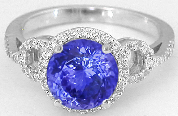 Tanzanite Diamond Engagement Ring With Matching Diamond Wedding Band In 14k White Gold Gr 7076