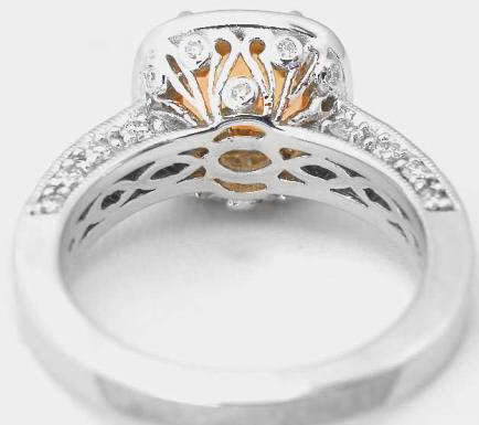 Cushion Cut Citrine And Diamond Halo Engagement Ring And Wedding Band With Milgrain Edging And