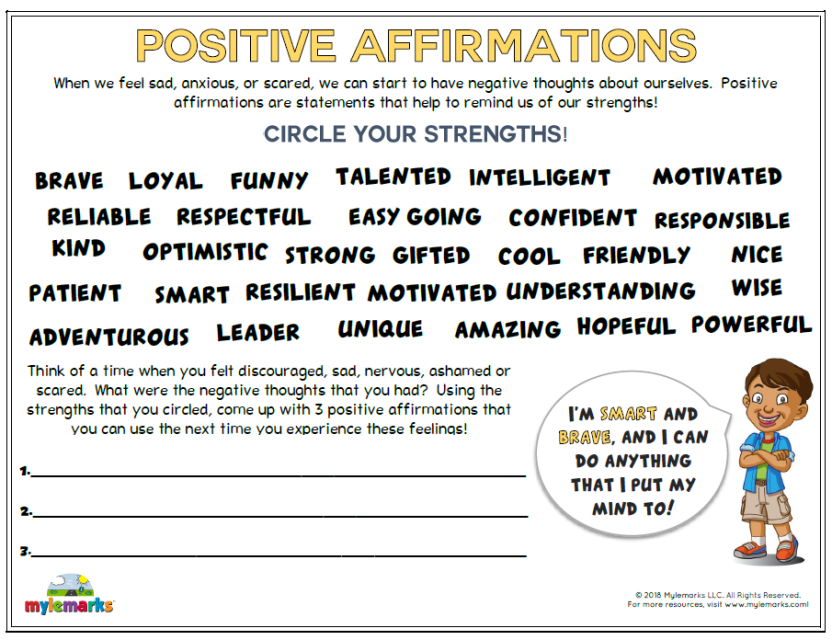 Improving Self Confidence Worksheets