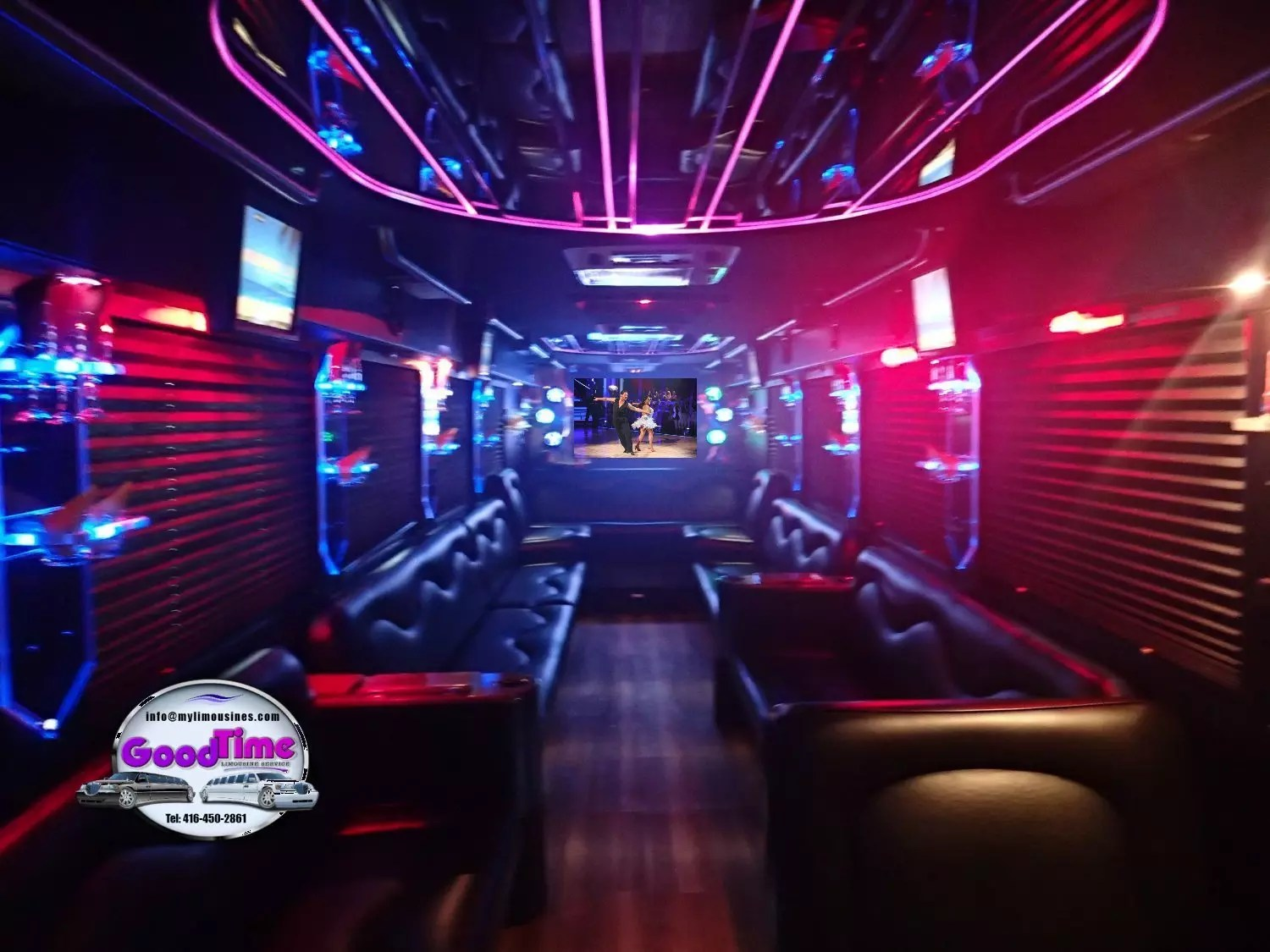 32 passenger party bus interior 5 1 LIMO RENTAL FLEET