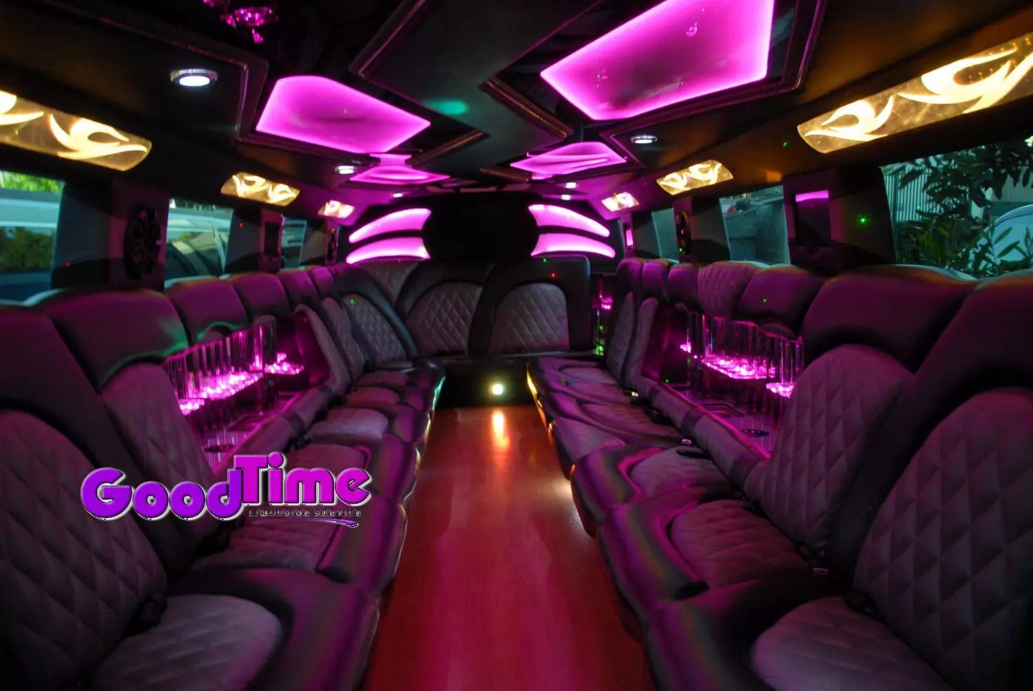 cadillac escalade suv stretch limo 22 passenger interior 1 2 LIMO RENTAL FLEET