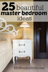 White vintage style nightstand with a lamp in a bedroom