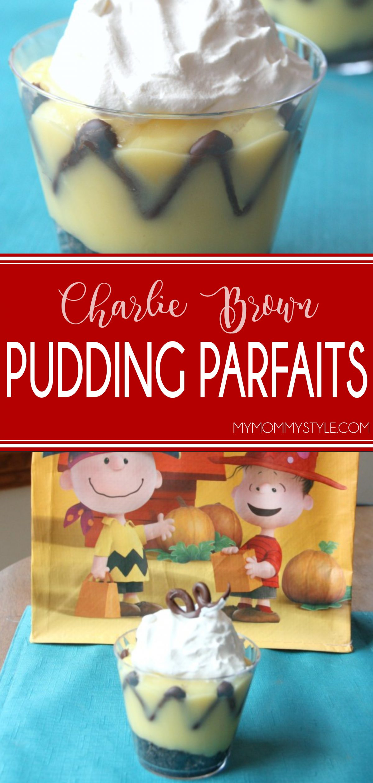 Charlie Brown pudding parfaits. They're fun and cute and they are so easy to make. The chevron stripe was made with melted chocolate chips that are piped into the chevron pattern and placed in the freezer for a few minutes. via @mymommystyle