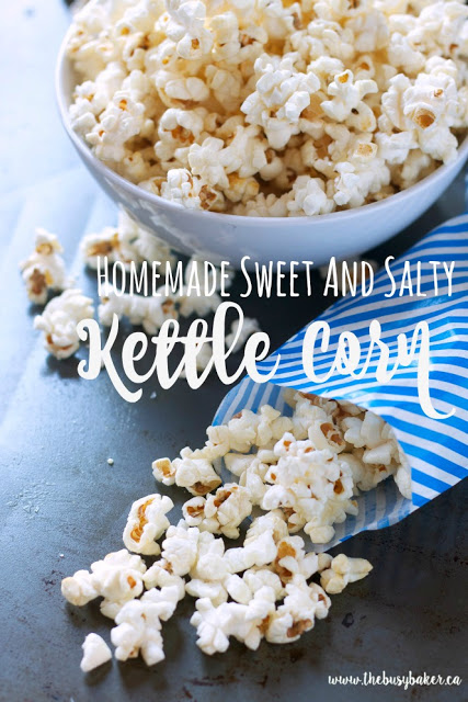 Bowl of sweet and salty kettle popcorn