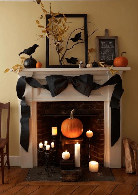 Giant Bow Halloween Mantel