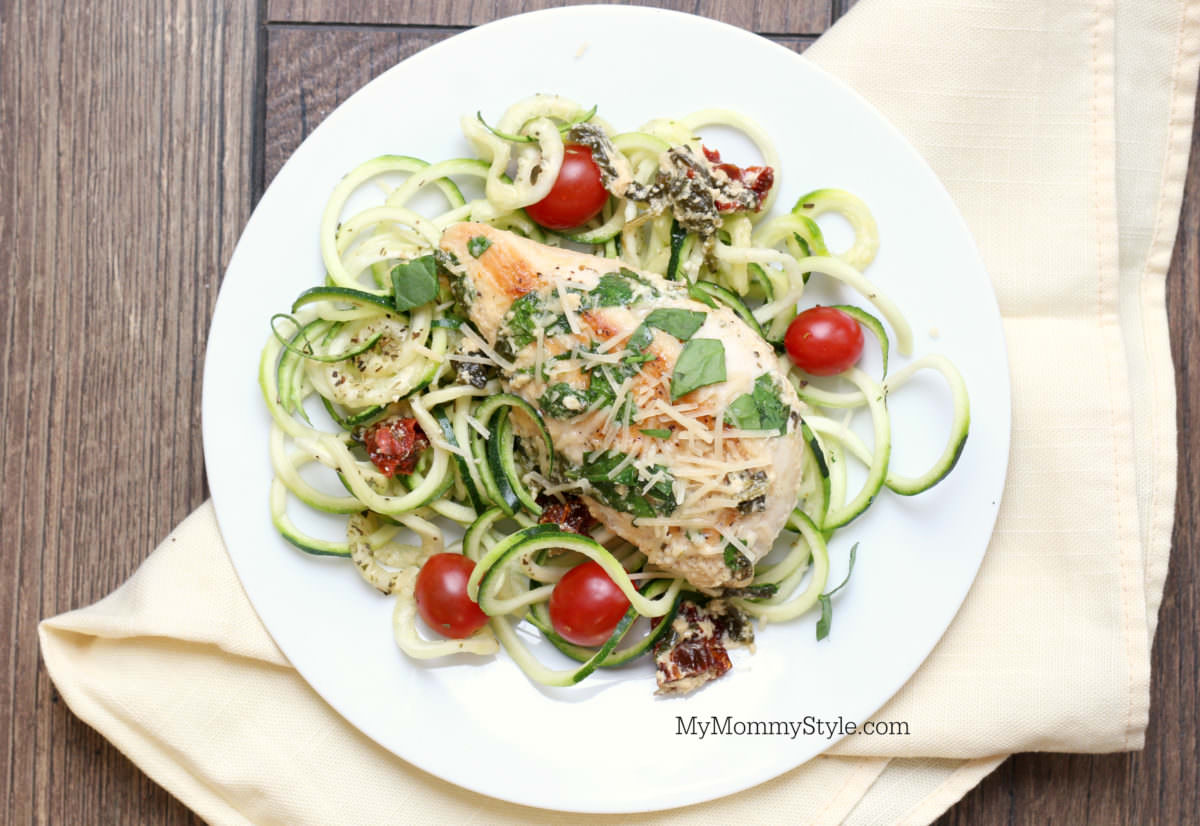 Creamy tuscan garlic chicken with zoodles served on a plate. lean and green recipe