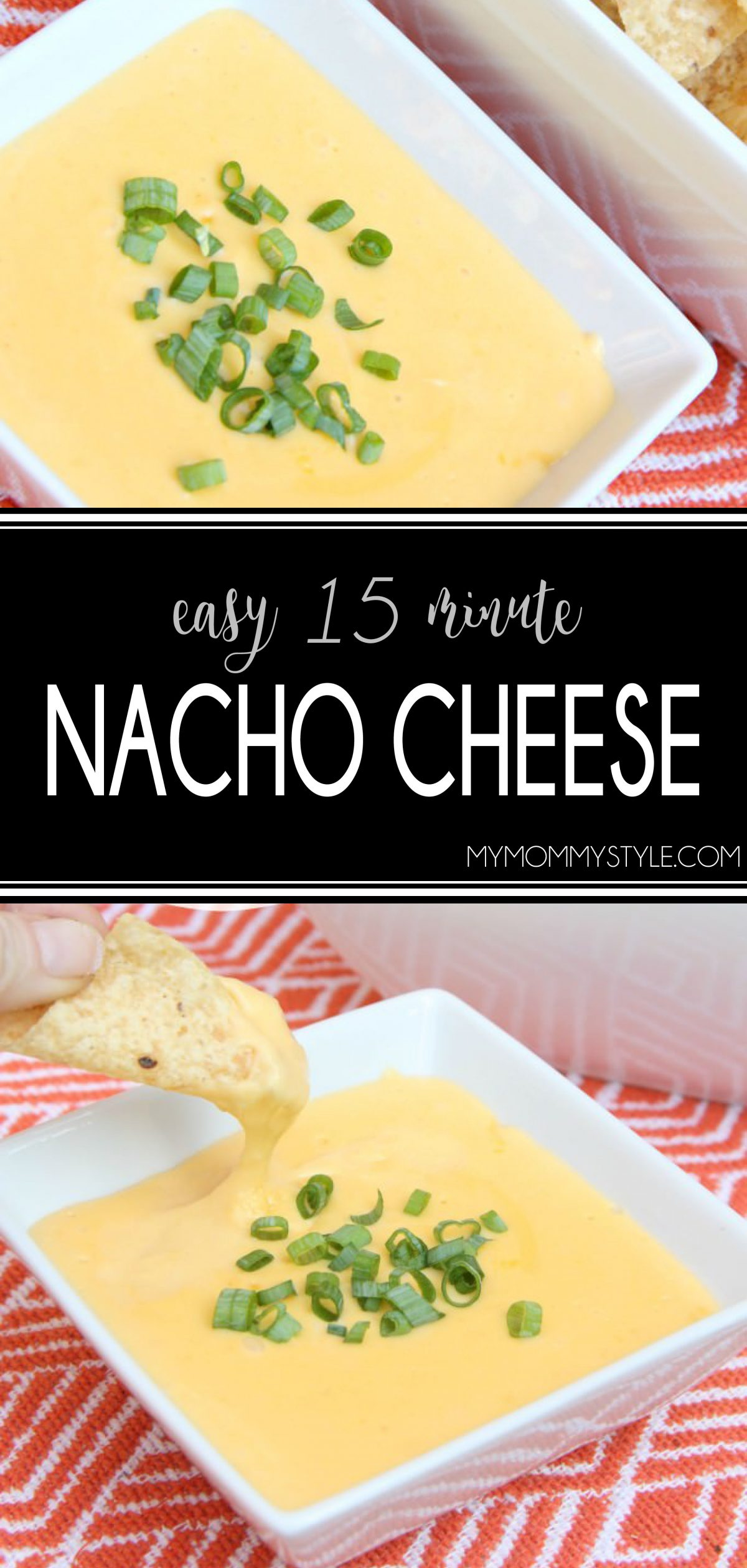 Homemade Nacho Cheese Sauce is fast and delicious made with real cheddar cheese. This creamy smooth dip is the perfect game day and party appetizer. via @mymommystyle