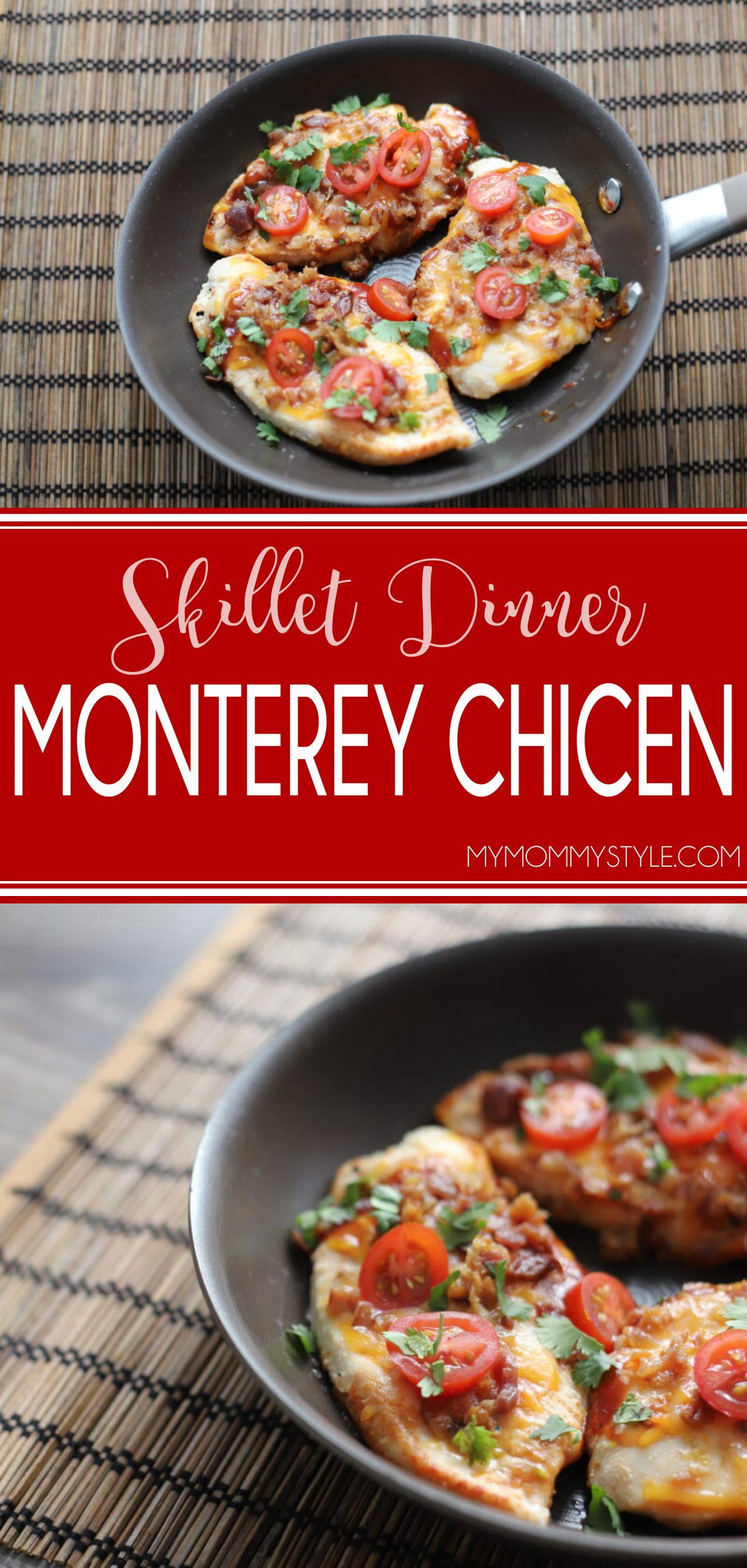 This Monterey Chicken Skillet dinner is simple, healthy, and so easy to do on a weeknight! Cooking it on the stovetop makes your kitchen a lot less hot! via @mymommystyle