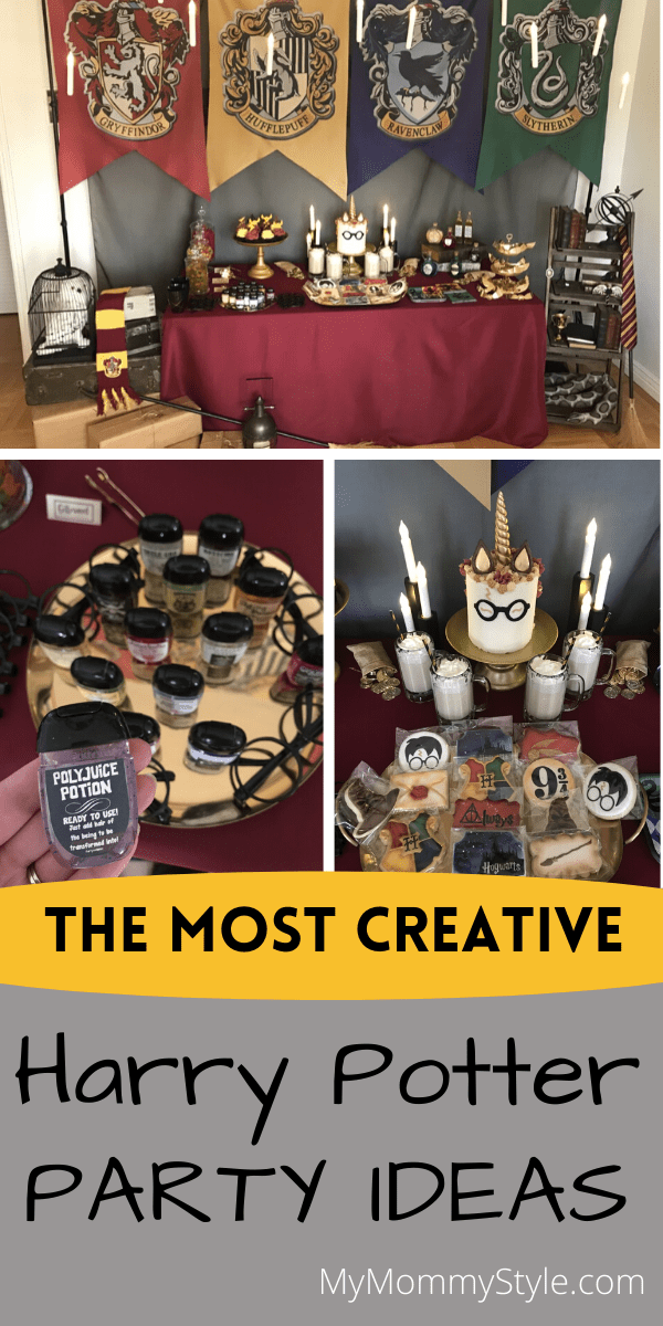 Bring the wizarding world to your home with these Harry Potter Party Ideas! This magical theme is fun for everyone of all ages. #harrypotterpartyideas #partyideasforharrypotter #harrypotterparty #harrypotter via @mymommystyle