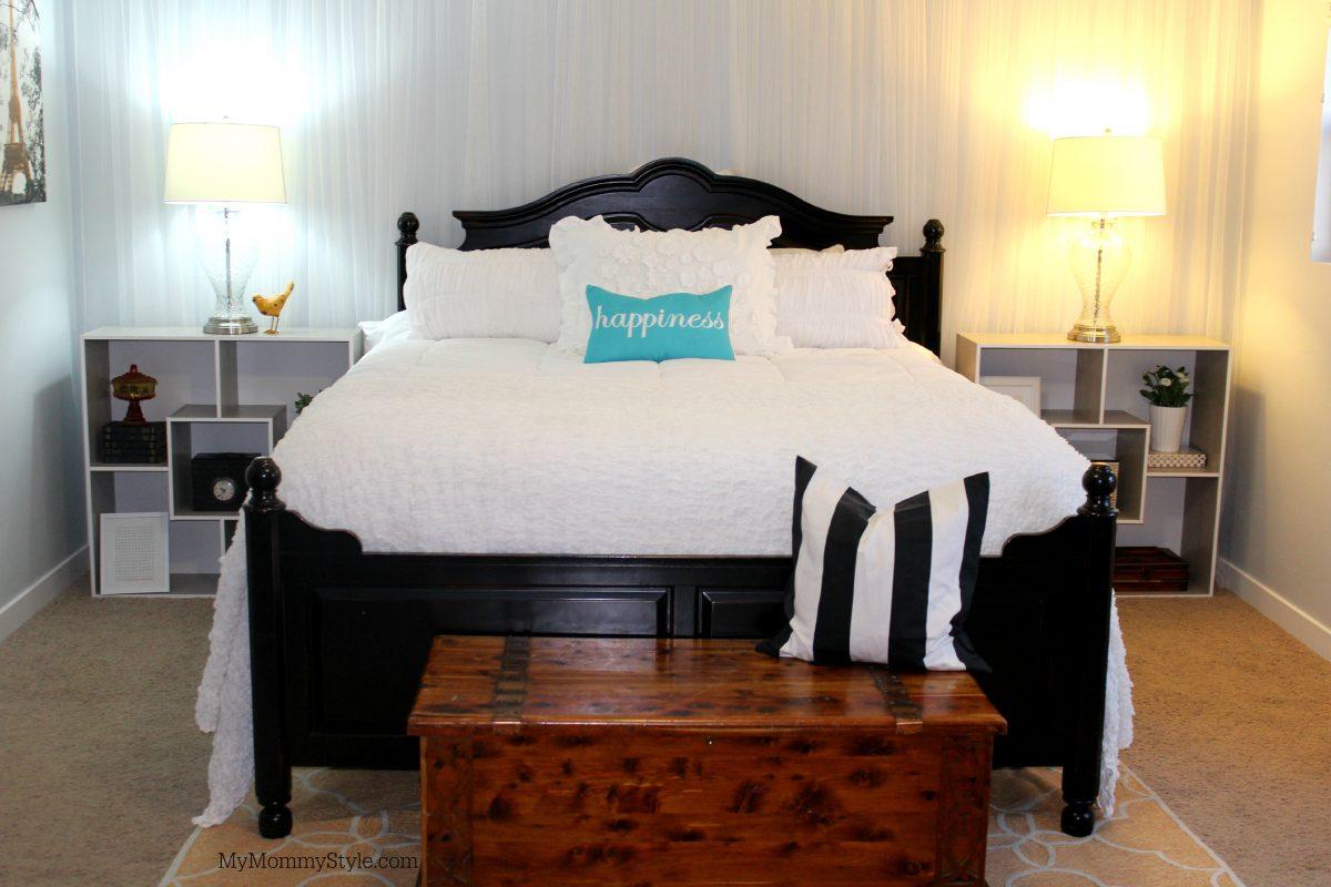 Bed with bookshelf nightstands
