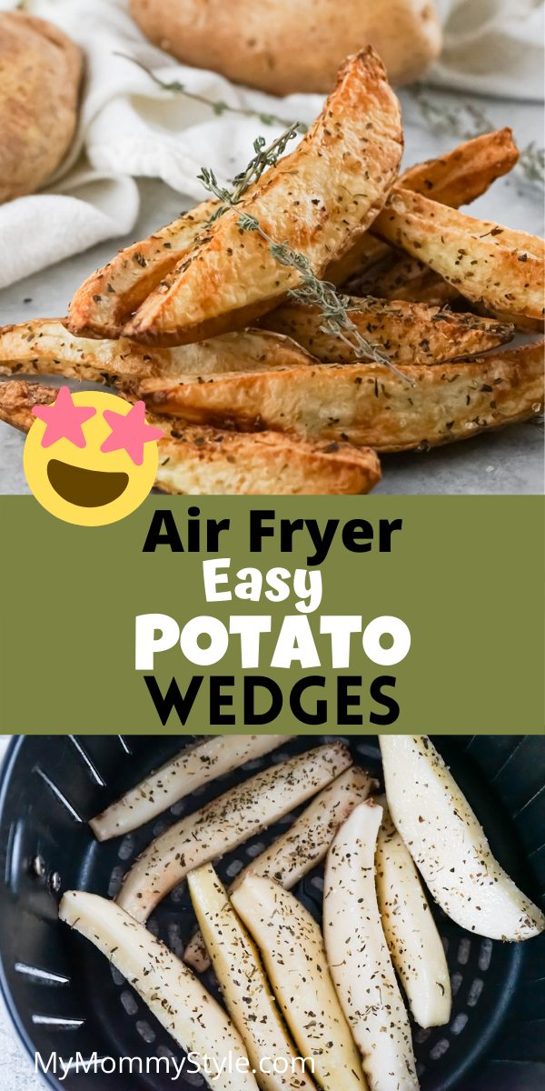 Make an easy side dish when you toss together these Air Fryer Potato Wedges. They are quick to make and have the perfect crisp! #airfryerpotatowedges #potatowedgesairfryer #potatowedgesinairfryer via @mymommystyle