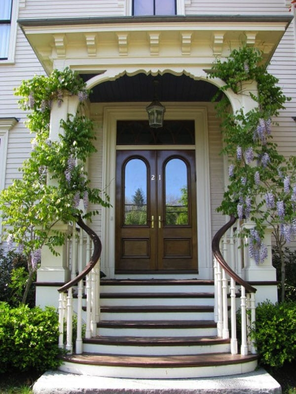 30 Inspiring Front Door Designs Hinting Towards A Happy Home   Home Front Stairs Design   Porch Attached Horizontal Staircase Tower   Parapet Wall   Sitout Step   Front Window   Interior