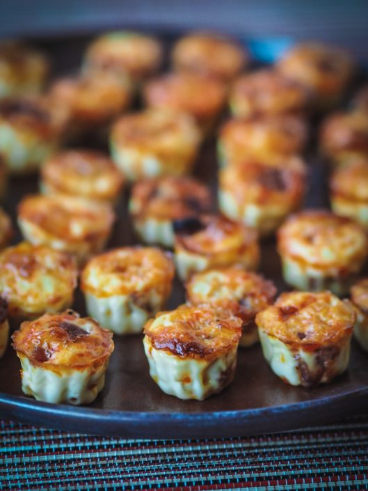 Chorizo flan small bites of the shape of French cannelé for appetizer