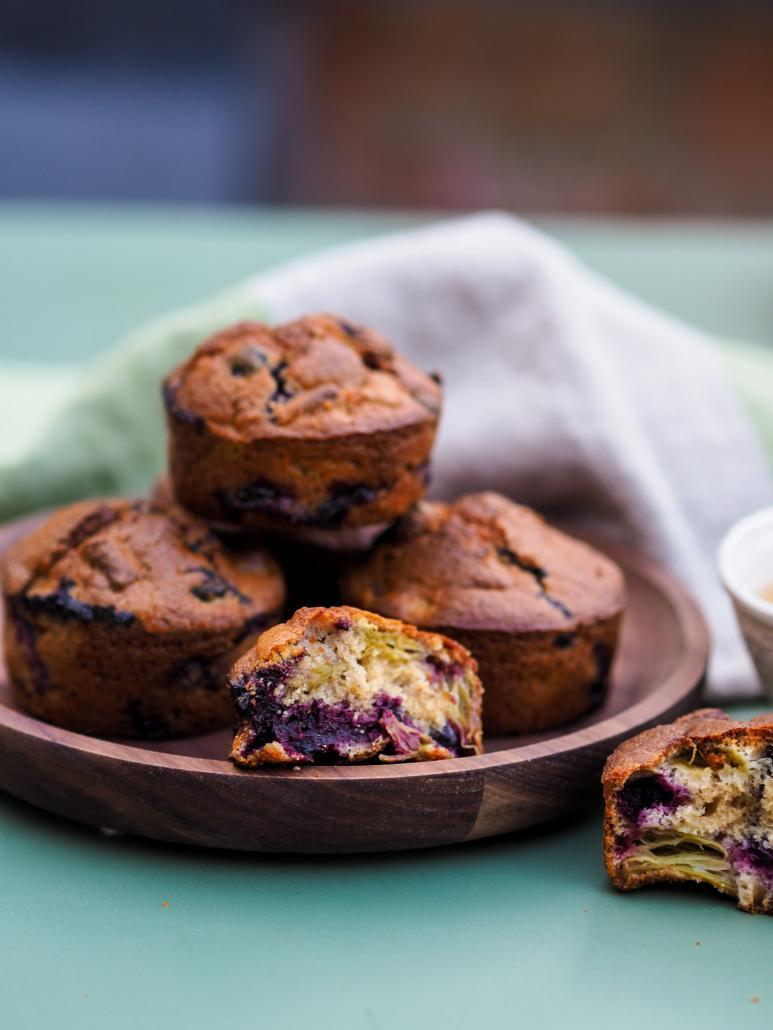 Rhubarb and Blackcurrant Muffins