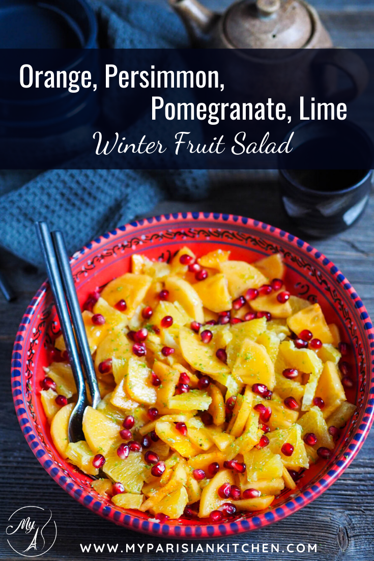 Orange, Persimmon, Pomegranate lime winter fruit salad