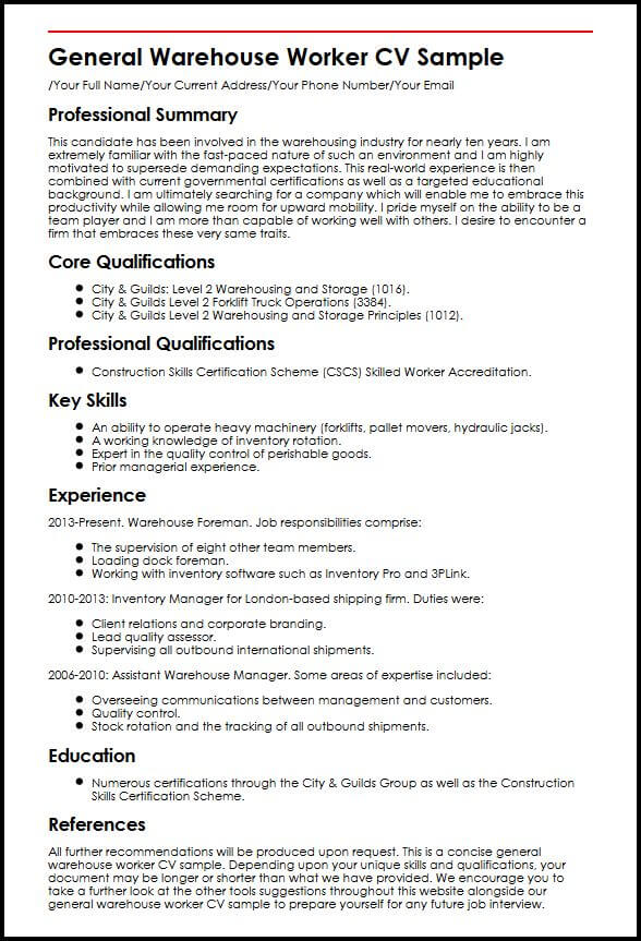 Warehouse What Resume Worker Some Are Skills