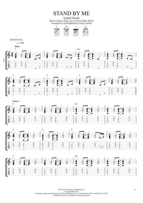 Stand by Me by Ben E. King - Guitar/Vocals Guitar Pro Tab ...