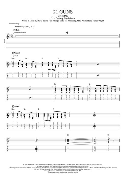 Fantastic 21 Guns Guitar Chords Crest - Chord Sites - creation ...