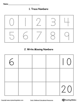 Trace and Write Missing Numbers 6 Through 20 ...
