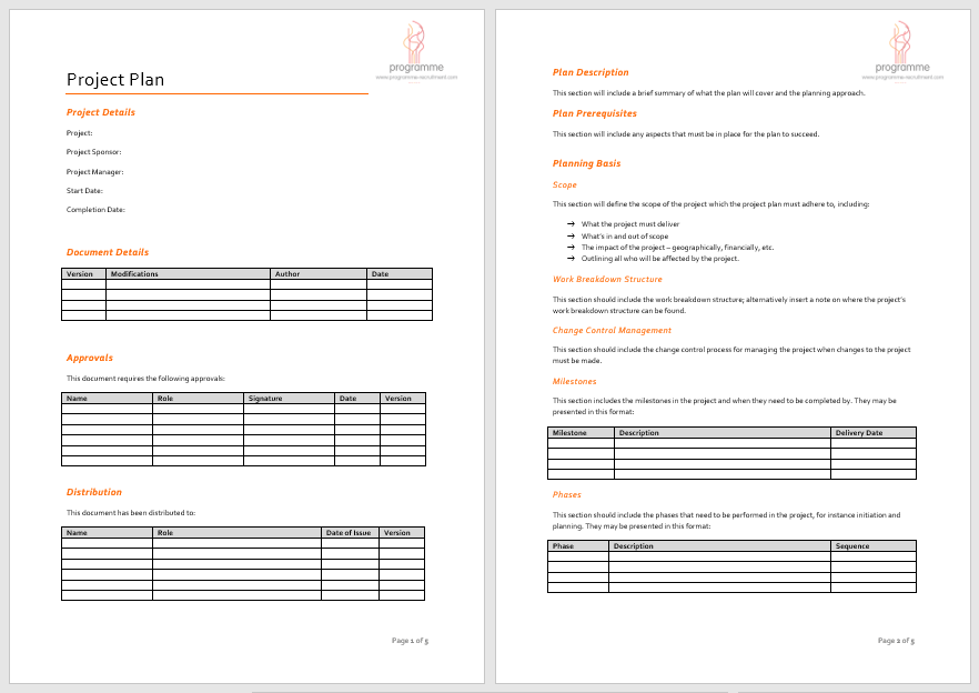 Project Microsoft Word Plan Template