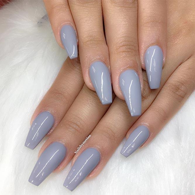 Nails Short Grey Coffin Acrylic