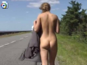 Teenage chick flashing lucky truck drivers