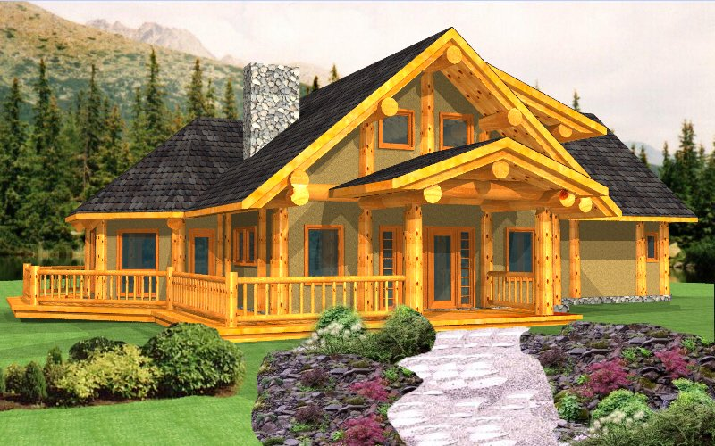 Log Post and Beam Package   Anesty   Log Home Plans Post and Beam Anesty3