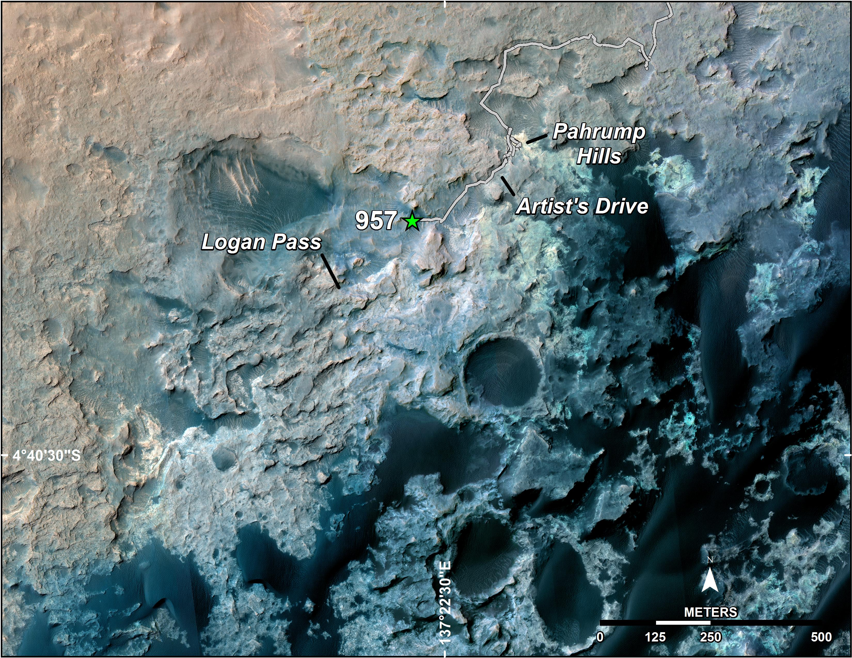 Curiosity s Position After 10 Kilometers   NASA Curiosity s Position After 10 Kilometers