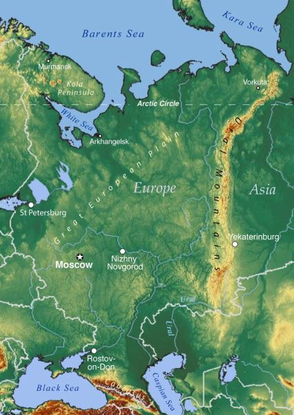 Map of European Russia   Nations Online Project Topographic Map of European Russia with Ural mountains and the Ural River