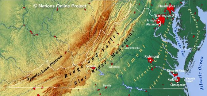 Reference Maps of Virginia  USA   Nations Online Project Virginia Topographic Regions Map