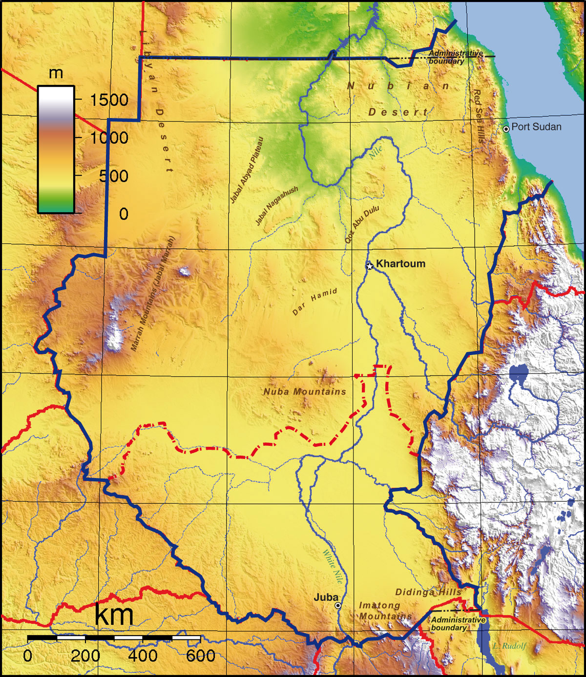 Sudan Nubian Desert Map