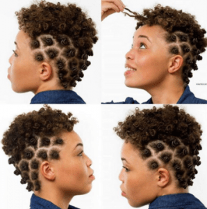 Bantu knots are easy to do and are great for any natural hair length.