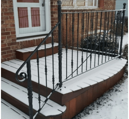 How To Replace An Outside Iron Railing Set In Cement | Outdoor Front Step Railings | Metal | Deck | Brick | Capozzoli Stairworks | Wood