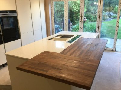 White Quartz with Island and Wooden Breakfast Bar - Neo ...