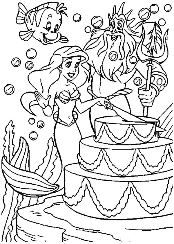 Page Coloring Mermaid Party