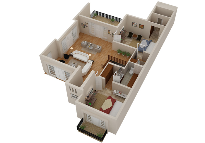 2D   3D House Floorplans   Architectural Home Plans   Netgains 3D Floor Plan