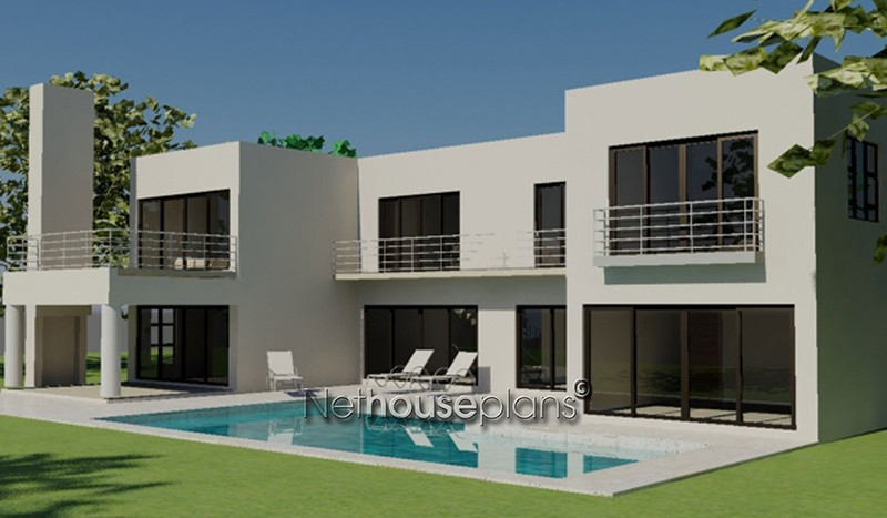 House plans Modern style house plan south africa, 4 bedroom, double storey floor plans