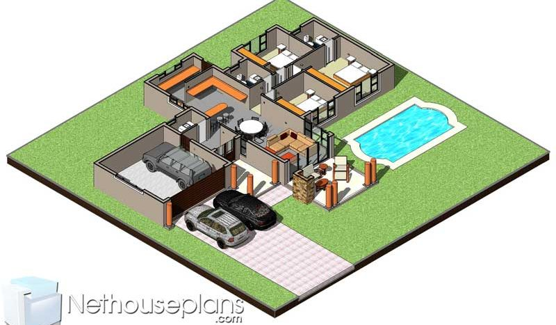 2 room house plans for sale in South AFrica 3 room house floor plans pdf house plans downloads free house plans downloads Nethouseplans