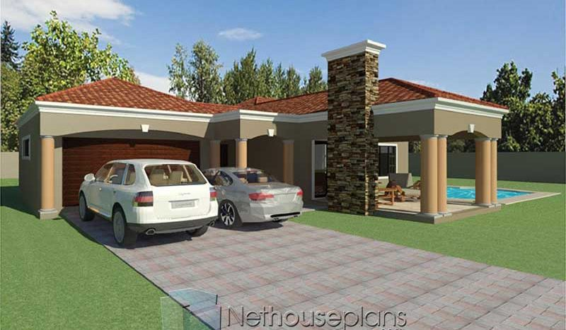 modern 3 bedroom house plans with double garage Nethouseplans